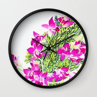 singapore Wall Clocks featuring Singapore Orchids by marlene holdsworth