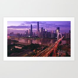 Famous Liede Bridge Pearl River Guangzhou Guangdong China Pazhou Haizhu Tianhe Ultra HD Art Print