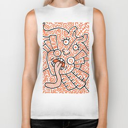 """The Face"" - inspired by Keith Haring v. orange Biker Tank"