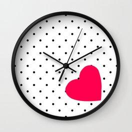 Red heart polka dot Wall Clock