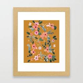Fawn Floral Copper Orange Framed Art Print