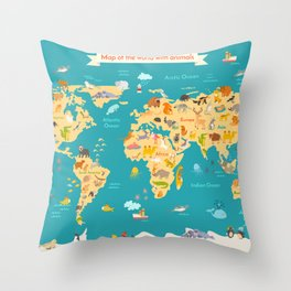 Animal map for kid. World vector poster Throw Pillow