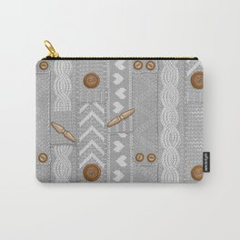 Scarves Knitted Buttoned - Gray Carry-All Pouch