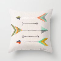 arrows Throw Pillows featuring Arrows by Hayley Lang