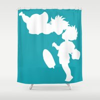 ponyo Shower Curtains featuring STUDIO GHIBLI'S PONYO by The Fugu Project