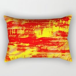 Sunburn - Abstract, yellow, red and orange, textured oil painting Rectangular Pillow