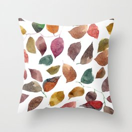 Leaves. Watercolor leaves pattern. Autumn leaves. Throw Pillow