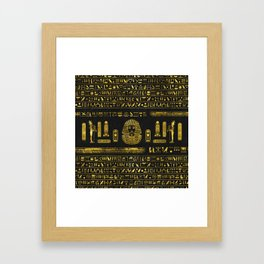 Golden Egyptian Sphinx on black leather Framed Art Print