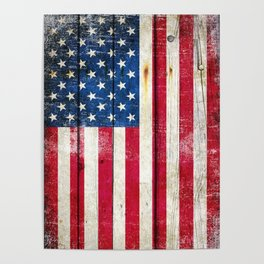 Vintage American Flag On Old Barn Wood Poster