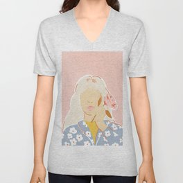 Girl and her Flower Unisex V-Neck