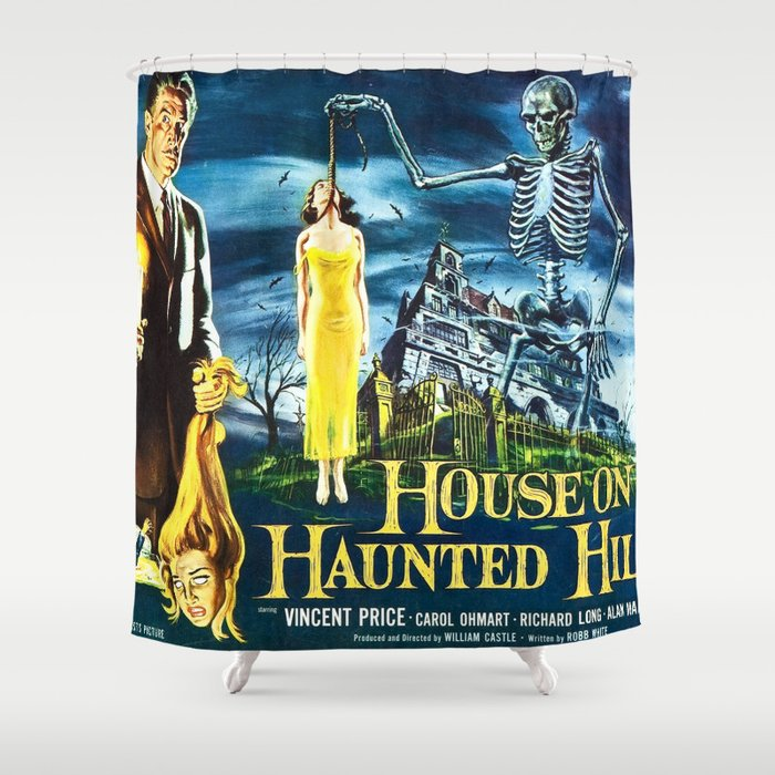 House On Haunted Hill Vintage Horror Movie Poster Shower Curtain
