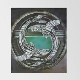 """Astrological Mechanism - Pisces"" Throw Blanket"