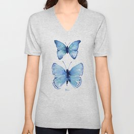 Two Blue Butterflies Watercolor Unisex V-Neck