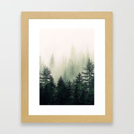 Foggy Pine Trees Framed Art Print