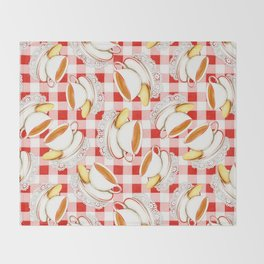 Cup of Tea, a Biscuit and Red Gingham Throw Blanket