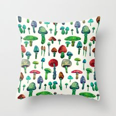 Mushrooms water Throw Pillow