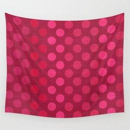 """Rose fuchsia Burlap Texture & Polka Dots"" Wall Tapestry"