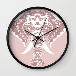 Pink & White Mandala Elephant Wall Clock