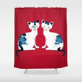Two's Trouble Shower Curtain