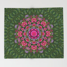 fantasy floral wreath in the green summer  leaves Throw Blanket