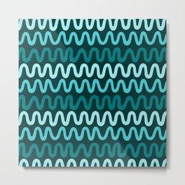Bold Teal Waves Metal Print