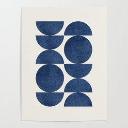 Blue navy retro scandinavian Mid century modern Poster