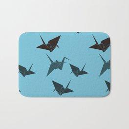 Blue origami cranes Bath Mat