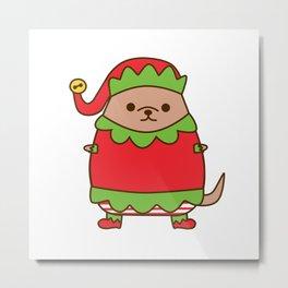 Cute Christmas Elf Pupsheen Metal Print