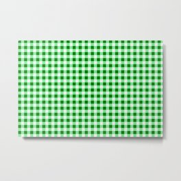 Gingham Green and White Pattern Metal Print