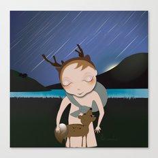 Deery Fairy Meteor Shower with baby deer Canvas Print