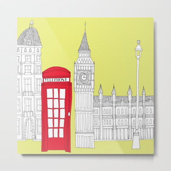 Capital Icons III // London Red Telephone Box Metal Print