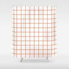 Grid Pattern Orange Shower Curtain