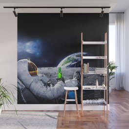 Funny Astronaut with space beer Wall Mural