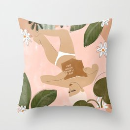 Life Is Better Without Bra Throw Pillow