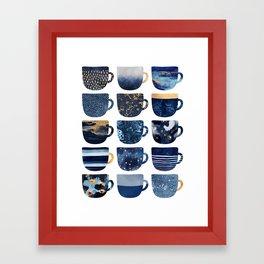 Pretty Blue Coffee Cups Framed Art Print