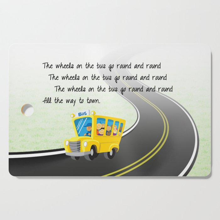 Wheels On The Bus Cutting Board By Helenhenry