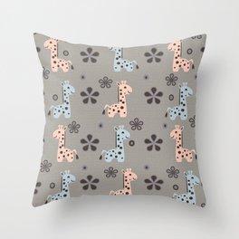 Boy Giraffe Playland Throw Pillow