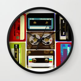 Retro Music Cassette Tapes - In Color Wall Clock