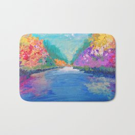 AROUND THE RIVERBEND - Autumn River Modern Nature Pochahontas Abstract Landscape Acrylic Painting Bath Mat