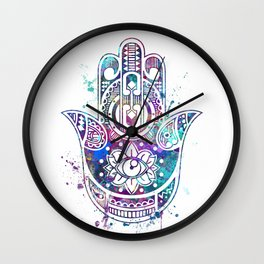 Hamsa Hand Watercolor Poster Wedding Gift Wall Clock