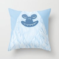 yeti Throw Pillows featuring Yeti by valorandvellum