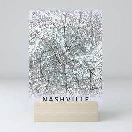 Nashville, TN, USA, White, City, Map Mini Art Print