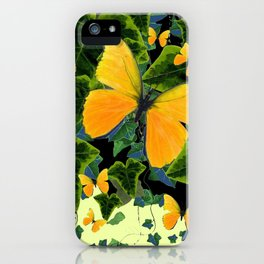 GREEN IVY LEAVES & YELLOW BUTTERFLIES iPhone Case