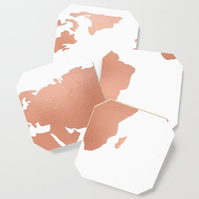 World map rose gold bronze copper metallic coaster by mapmaker world map rose gold bronze copper metallic coaster gumiabroncs Gallery