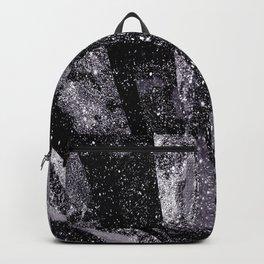 Glitter Silver Star Gaze Black White Retro Vintage Backpack