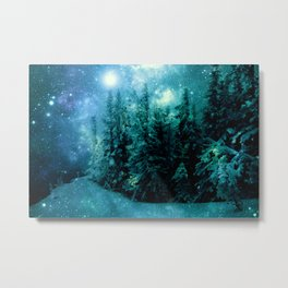 Galaxy Winter Forest Blue Teal Metal Print
