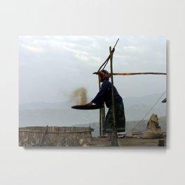 Akha Gril Milling Rice Portrait Metal Print