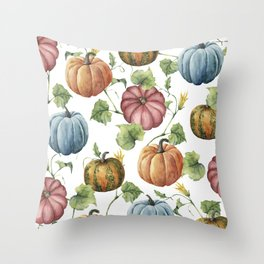 PUMPKINS WATERCOLOR Throw Pillow