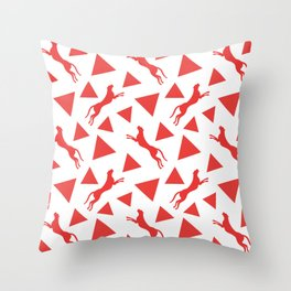 Gorgeous wild jumping cheetahs and abstract red geometric triangle shapes. Stylish classy elegant white retro vintage animal whimsical nature pattern. Silhouettes. Throw Pillow
