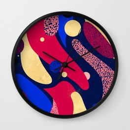 Psychedelic terrazzo galaxy blue night gold red Wall Clock